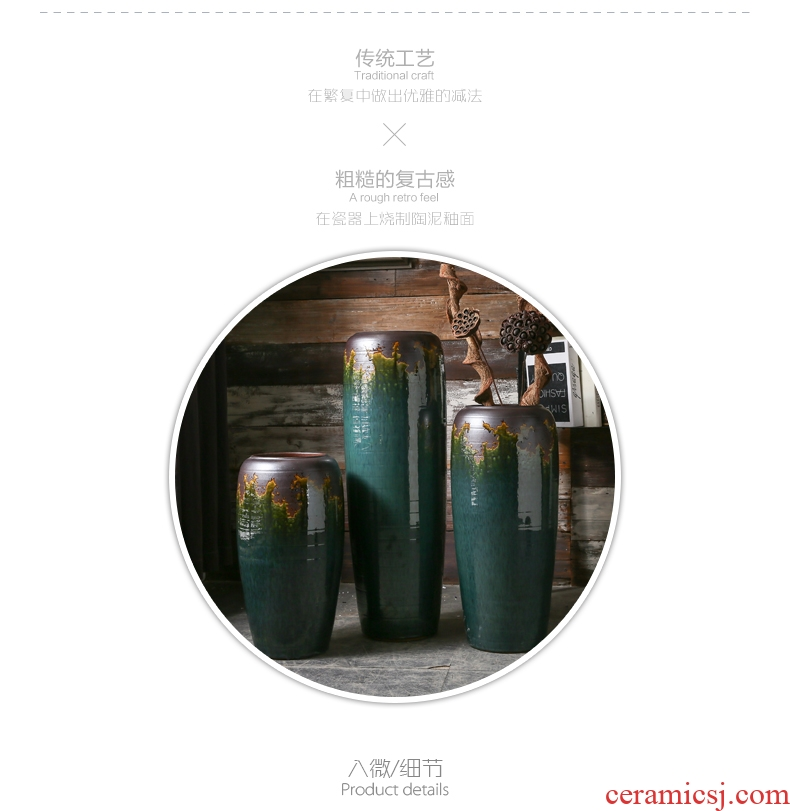 Jingdezhen ceramics hotel opening office Chinese flower arranging sitting room ground red vase Chinese red - 553102837219