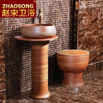 Chinese pillar landing fission lavatory household bathroom sink ceramic basin outdoor courtyard garden
