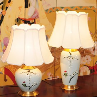 LED lamp All copper ceramic desk lamp of bedroom the head of a bed creative move hand - made painting of flowers and a sitting room, a study of new Chinese style lamp X