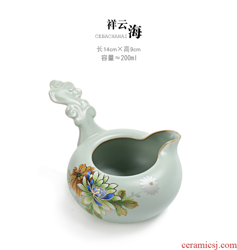 Famed open piece of imitation song dynasty style typeface your up kung fu tea set home tea pick flowers ceramic cups porcelain teapot to lie prone