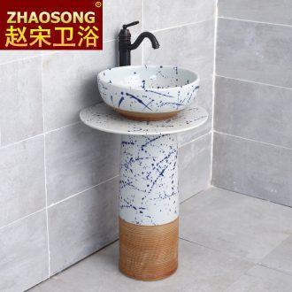 Balcony pillar lavabo household one wash basin bathroom ceramic floor type lavatory pool of Chinese style