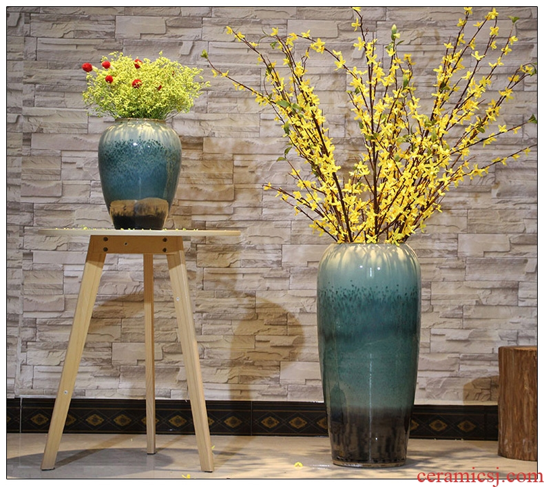 Dried flower color glaze up ceramic sitting room ground vase vase modern European hotels flower arranging large vases, furnishing articles - 42466682168