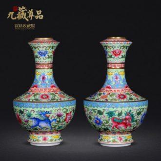 Jingdezhen ceramics antique hand-painted the colour green kirin enamel vase sitting room porch handicraft furnishing articles