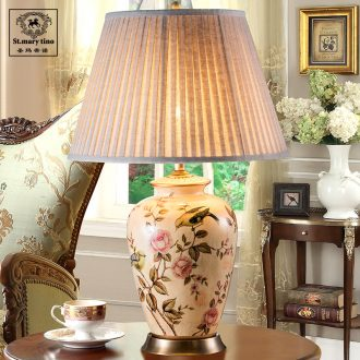 European ceramic desk lamp retro desk lamp of bedroom the head of a bed american-style villa living room study all copper ceramic desk lamp of flowers and birds