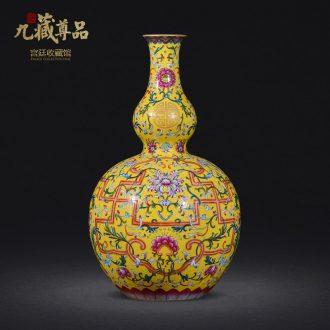 Jingdezhen ceramics imitation qing qianlong yellow scramble for colour live big flower vase sitting room home furnishing articles