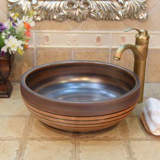 JingYuXuan jingdezhen ceramic lavatory basin, art basin sink the stage basin ancient brown black lines