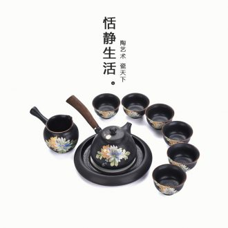 Quiet life Japanese kung fu tea set suit black pottery side put the pot bearing restoring ancient ways household contracted your kiln ceramics