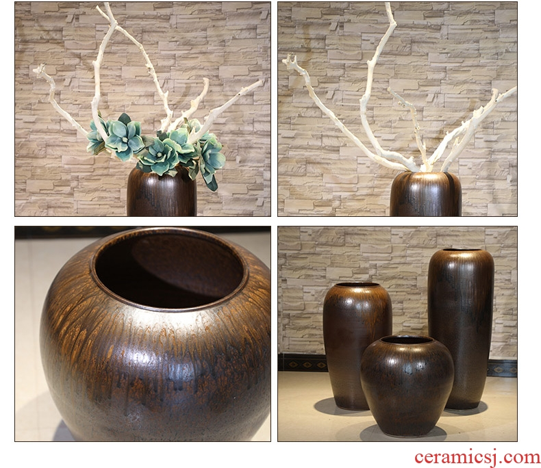 New Chinese style club house sitting room of large vase jingdezhen ceramic flower implement flower restaurant adornment is placed between example - 555872000456