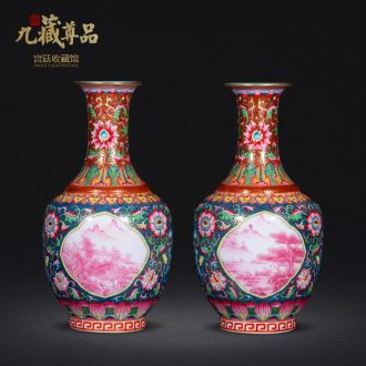 Jingdezhen ceramics antique hand-painted colour enamel window carmine landscape crafts vase the living room