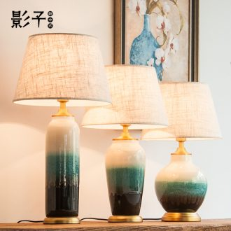 I and contracted all copper ceramic desk lamp sitting room 1055. The study of Chinese style to decorate The hotel guest room desk lamp of bedroom The head of a bed
