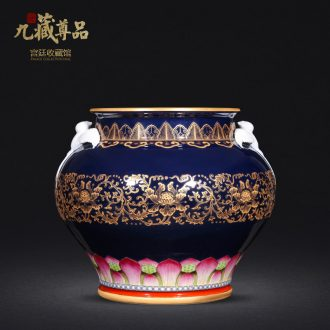 Jingdezhen ceramics antique hand-painted ji to pastel blue paint wrap peony lines double yan ear vase furnishing articles