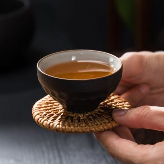 Passes on technique the black pottery up zen ceramic cups kung fu tea set sample tea cup single CPU personal tea cup, Japanese hammer cup