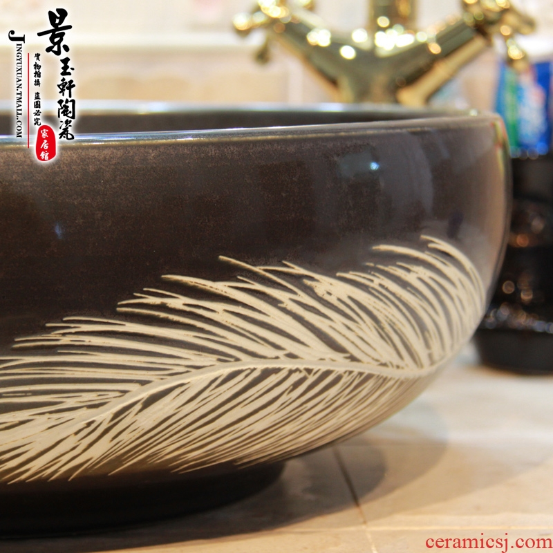 Jingdezhen ceramic black big leaf on the lavatory basin, art basin sink basin basin sanitary ware