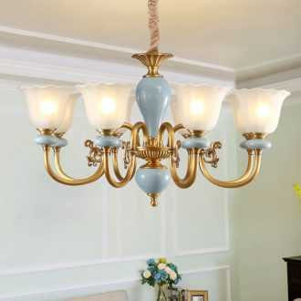 Any lift European - style full copper chandelier lamps and lanterns of the sitting room is contracted American bedroom creative move ceramic lamp hall restaurant
