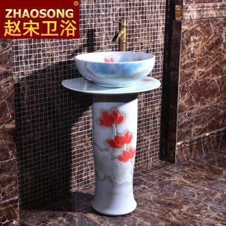 Chinese pillar landing one lavatory household bathroom sink ceramic basin outdoor courtyard garden