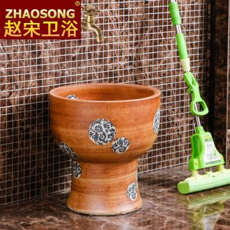 Jingdezhen large round mop pool one blue and white mop mop pool pool balcony wash cloth mop basin outdoor pool