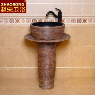 Europe type restoring ancient ways ceramic floor pillar one wash basin toilet lavabo creative balcony outdoor pool
