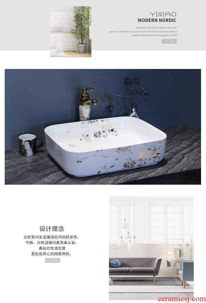 Million birds ceramic art basin on its oval sink european-style bathroom sinks marble basin