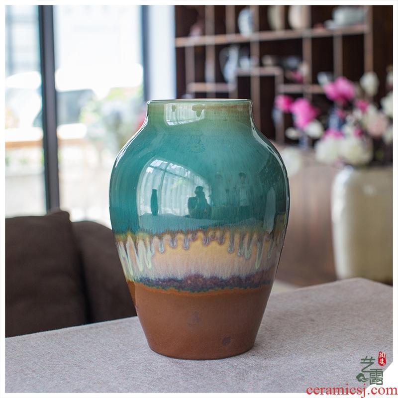 Modern European Mediterranean home furnishing articles jingdezhen porcelain vase in color glazed pottery three - piece sitting room decoration