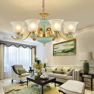 American rural living room lamp ceramic all copper chandelier Mediterranean dining - room bedroom lamp double entry building European - style villa copper lamp