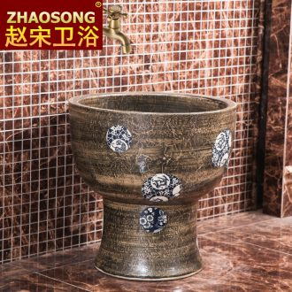 Chinese style restoring ancient ways of household creative conjoined mop pool ceramic art basin of the balcony floor mop pool outdoor pool