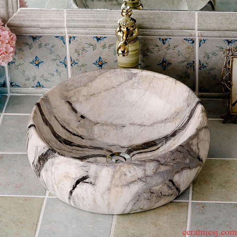 The stage basin circular imitation marble ceramic art basin European household toilet toilet face basin hand basin