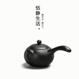 Black side quiet life zen put the pot of tea ware antique black pottery clay pu 'er kung fu tea set ceramic in Taiwan