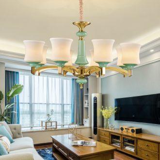European - style full copper chandelier key-2 luxury atmosphere American ceramic sitting room, dining - room lamp contracted rural copper lamp sweet bedroom light