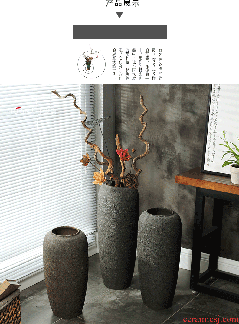 I and contracted creative ceramic extra - large ceramic sitting room hotel villa art vase landing simulation dried flowers - 573325786624
