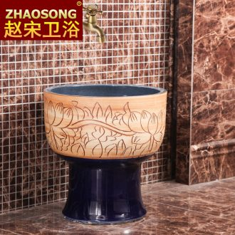 Jingdezhen Chinese style restoring ancient ways is large conjoined mop pool toilet archaize mop pool creative household mop basin circle