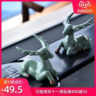 Hong bo acura ceramic deer creative sika deer tea pet deer living room a study desk) base furnishing articles