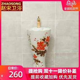Zhao Song Jian European ceramic pillar lavabo household toilet one - piece type lavatory basin courtyard