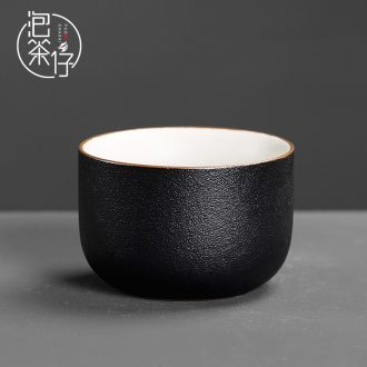 A single Japanese coarse pottery cups single cup black ceramic kung fu home tea tea set single master tea bowl