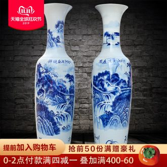Jingdezhen ceramic of large blue and white porcelain vase splendid future of new Chinese style hotel furnishing articles the opened a large living room