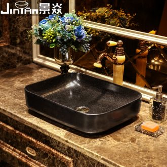 JingYan black stars art stage basin rectangle ceramic lavatory household basin on restoring ancient ways is the sink