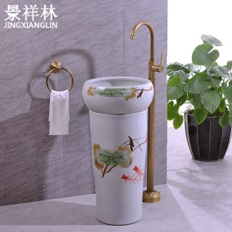 Chinese pottery and porcelain basin of pillar type lavatory floor toilet pillar one - piece balcony lavatory