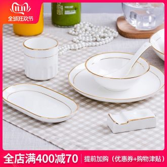 Jingdezhen porcelain hotel desk tray is placed ipads to use spoon set a full range of the available fuels the tableware of western - style restaurant LOGO