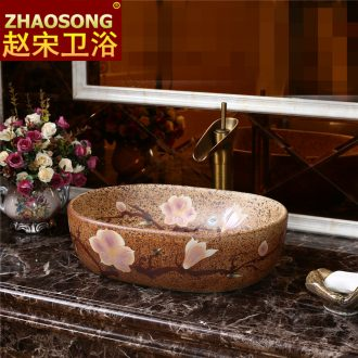 Small ceramic toilet stage basin to ancient art of song dynasty for wash basin oval sink balcony 35 cm