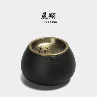 Chen xiang coarse pottery water meng ceramic building black metal tin lid zen kung fu tea accessories office dross barrels