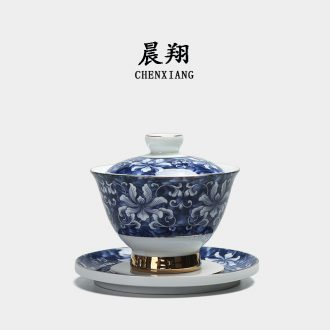 Chen xiang jingdezhen porcelain paint tureen ceramic cups only three bowl of kung fu tea bowl is large