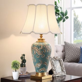 The sitting room is full of copper ceramic lamp bedroom berth lamp contracted creative large villa study retro decoration lamp