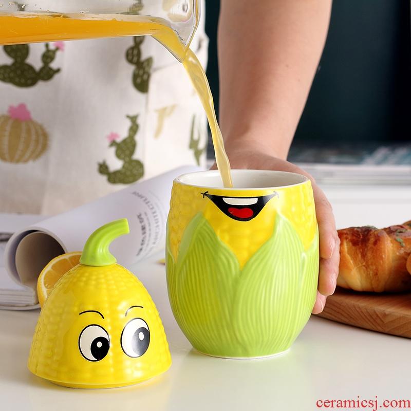 Creative move trend ceramic cup cartoon corn milk coffee cup picking keller cup of office