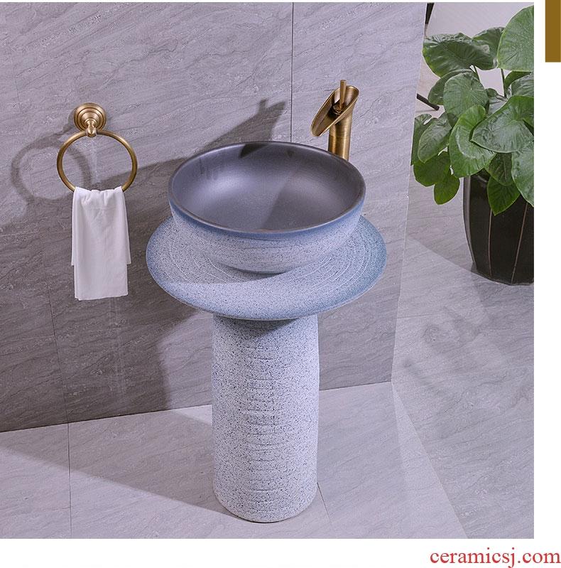 Basin of pillar type lavatory floor pillar integrated contracted art Basin ceramic toilet lavabo