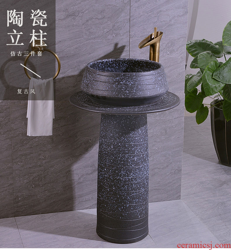 Jingdezhen ceramic art basin lavatory basin column restoring ancient ways suit two - piece three - piece suit