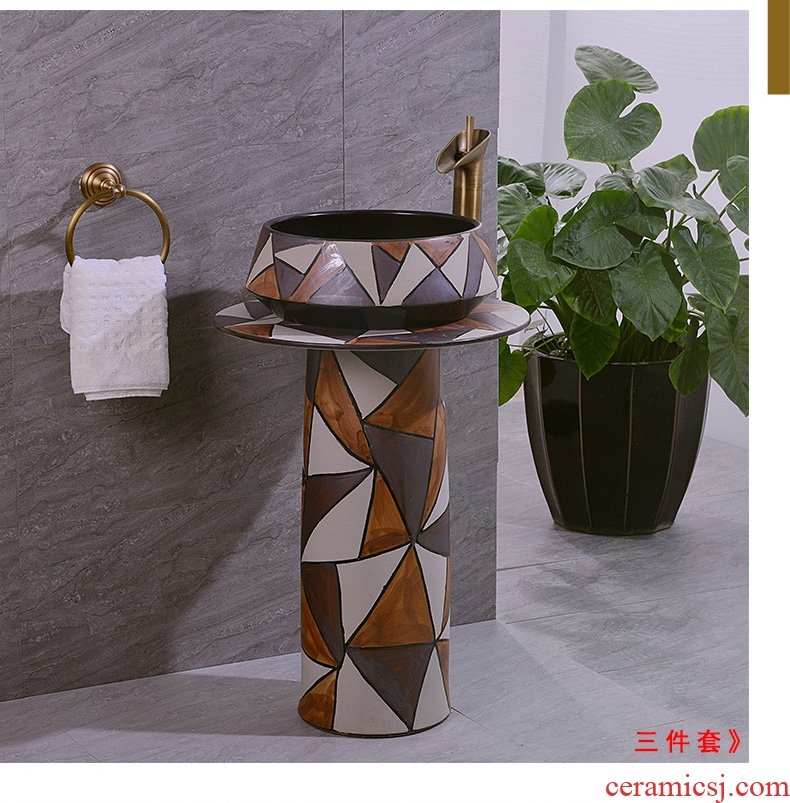 Contracted style restoring ancient ways pillar two - piece three - piece suit of jingdezhen lavabo ceramics art basin sinks