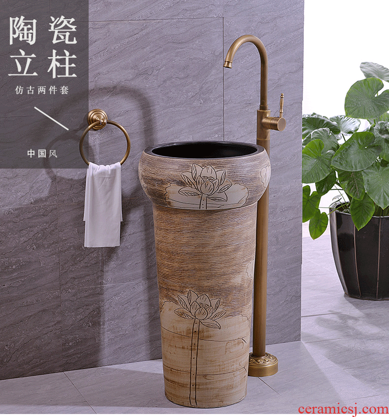 Ceramic column basin pillar lavabo floor art integrated basin toilet lavatory lotus carving