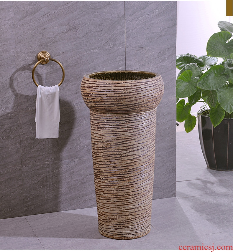 Retro ceramic lavatory floor toilet basin one - piece balcony column basin sinks the post