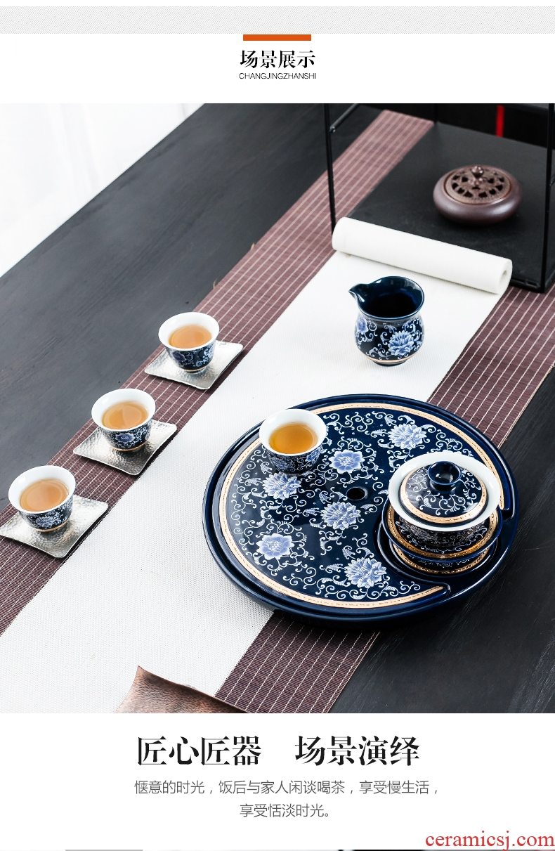 Bin ceramic drainage type tea tray was creative round tea home small office tea sea of blue and white porcelain tea sets tea set