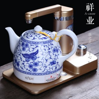 Auspicious industry ceramic kettle electric kettle electric teapot curing pot insulation power automatic water blue and white porcelain teapot