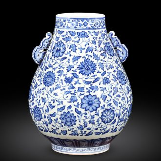 Jingdezhen ceramics imitation qianlong hand - made of blue and white porcelain vases, flower arrangement of new Chinese style wine home furnishing articles